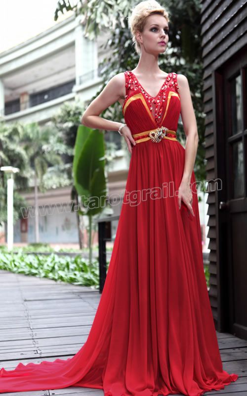 V Neck Beaded Sweep Train Red Prom Dress