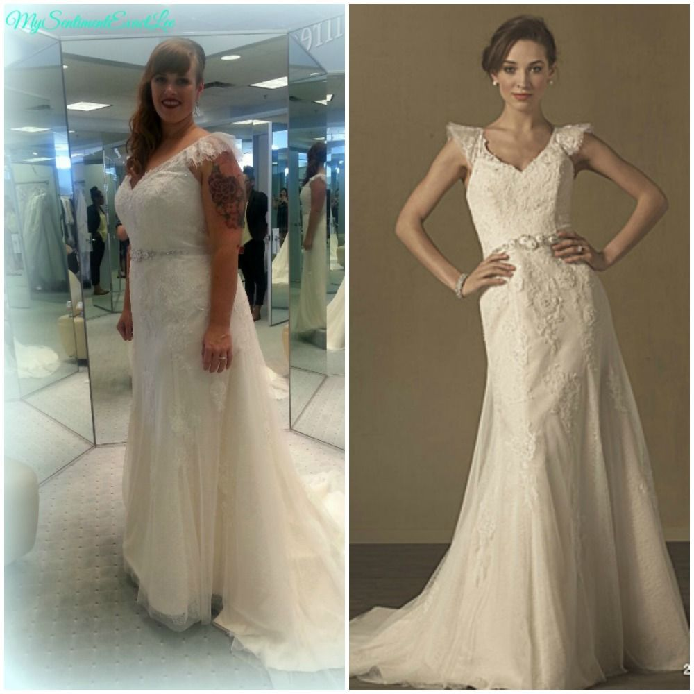 MySentimentExactLee Real Women Brides Alfred Angelo Dress 2437 Vintage Lace Inspired Gown With Flutter Sleeves And Beaded Belt Chapel Train