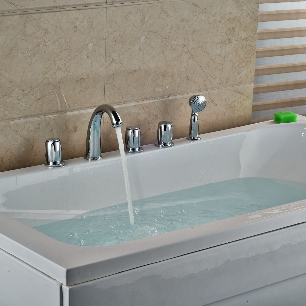 Chrome Polish Tub Faucet 5pcs Three Handles With Hand Shower Deck ...
