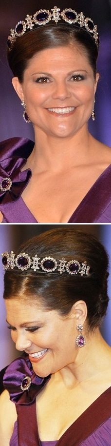 Crown princess victoria in the netherlands april 2013 pre dinner before the inauguration wearing the Queen Josephine's Amethyst Tiara