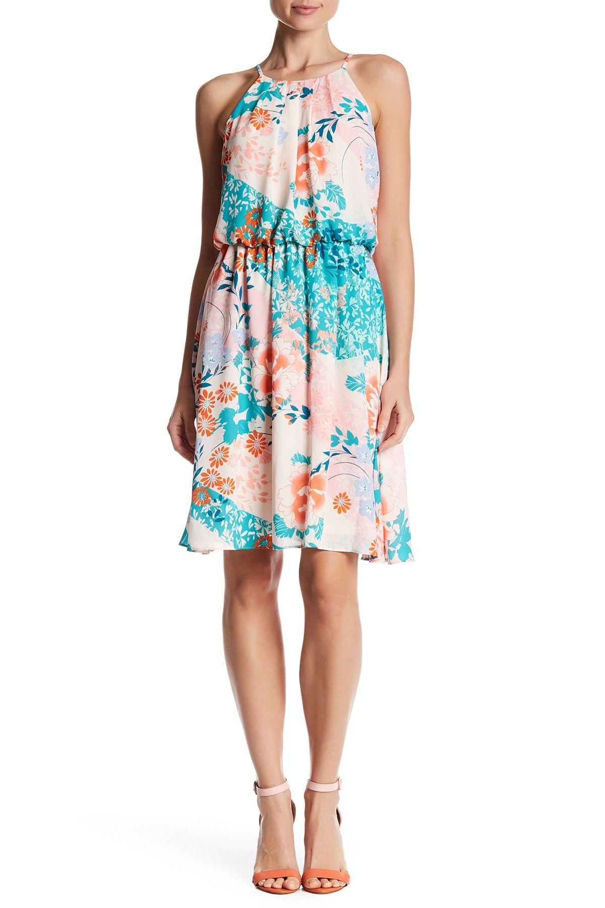Printed Pleat Bodice Dress