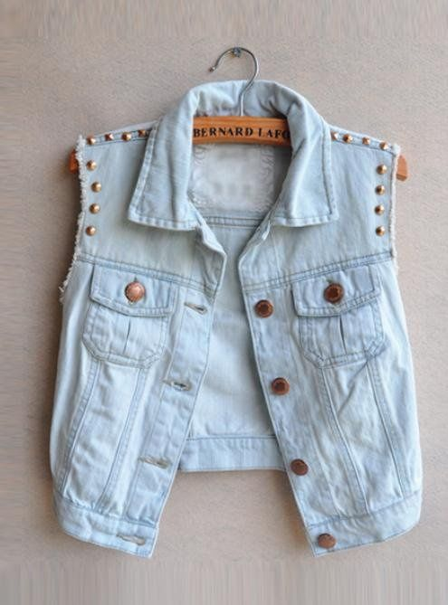 Studded denim jacket | Fabrics and Accessories | Pinterest ...