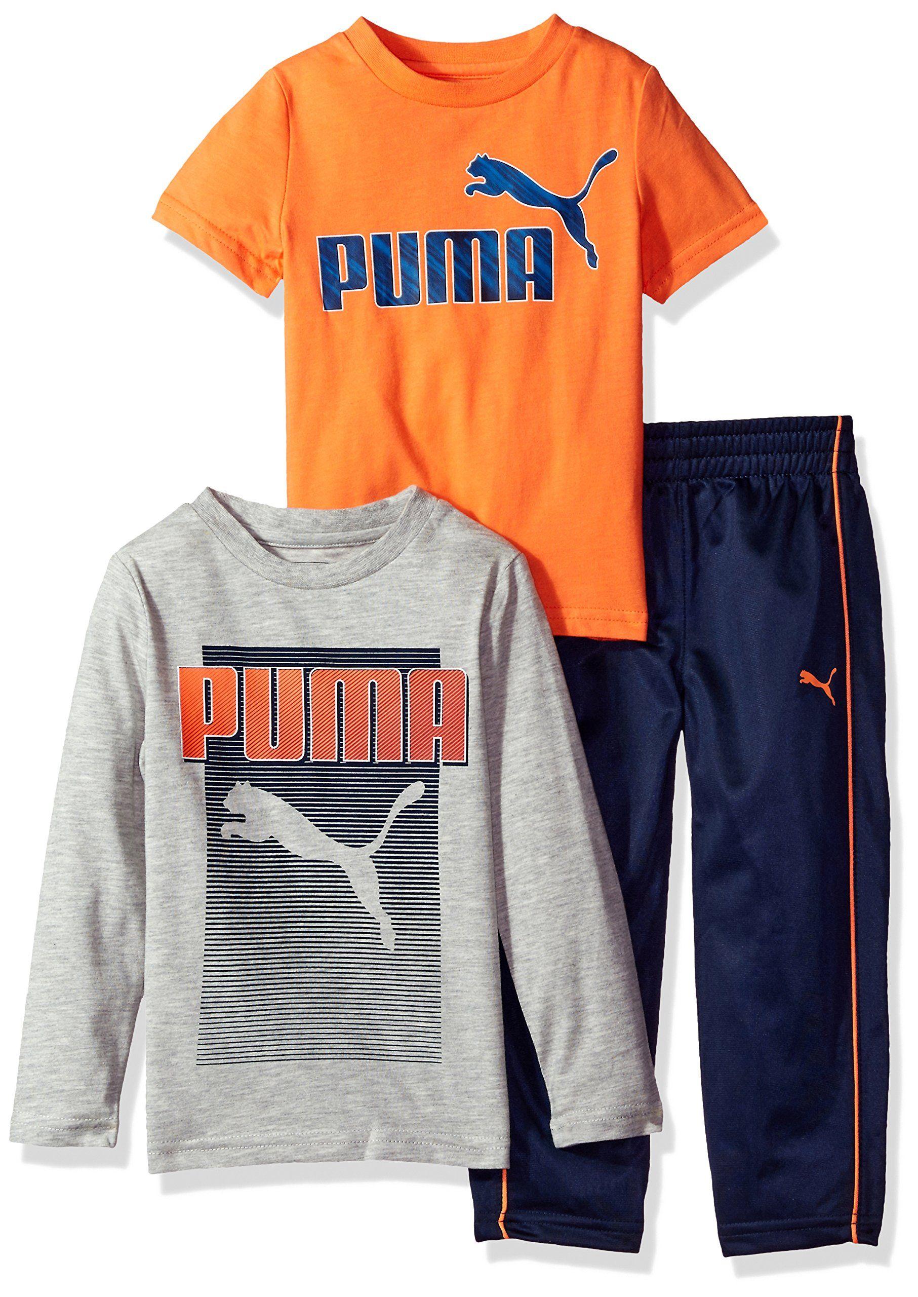 PUMA Baby Boys Three Piece T Shirt and Pant Set Light Heather Grey1