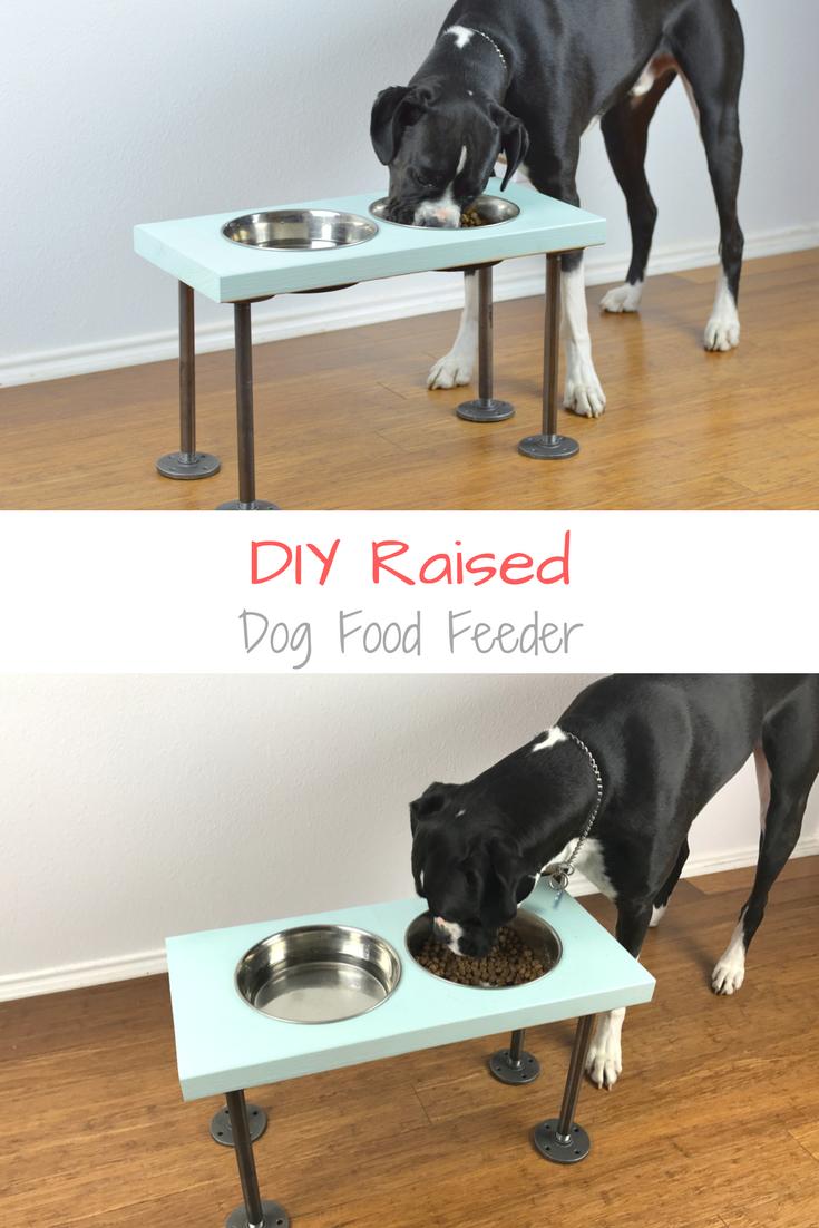 DIY Raised Dog Feeder Raised dog feeder, Dog feeder