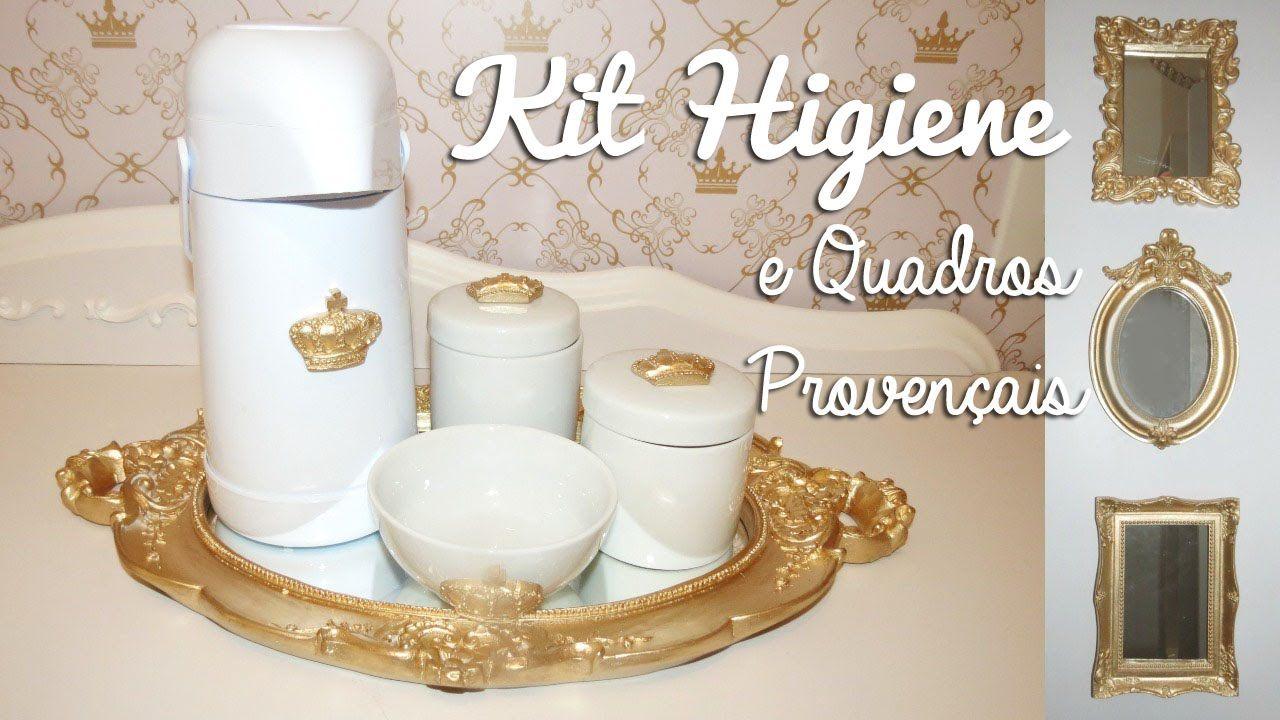 DIY Como Fazer Kit Higiene Provençal + Quadrinhos Faça Voc u00ea Mesmo Vídeos Como fazer  -> Como Decorar Kit Higiene Bebe Com Tecido