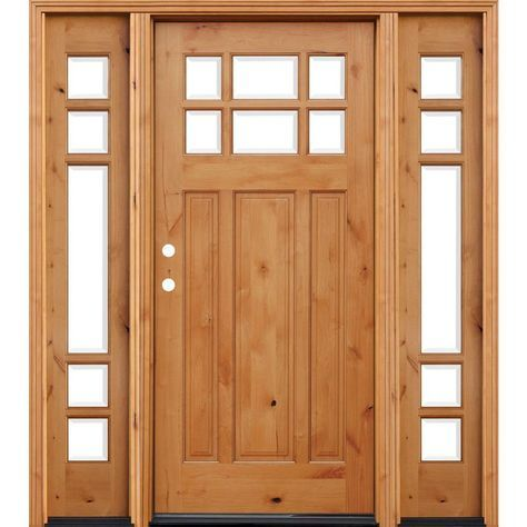 Pacific Entries 68 In X 80 In Craftsman 6 Lite Stained Knotty Alder Wood Prehung Front Door W 6 In Wall Series And 12 In Sidelites A36r612 The Home Depot Wood