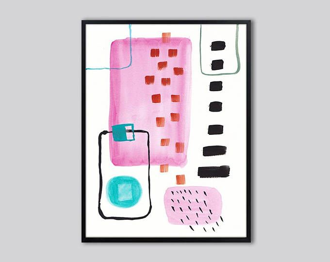 Large pink abstract wall art, large abstract art print, Pink black ...