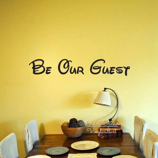 Be Our Guest Quote Wall Sticker Family Quotes Wall Decal Home Wall ...