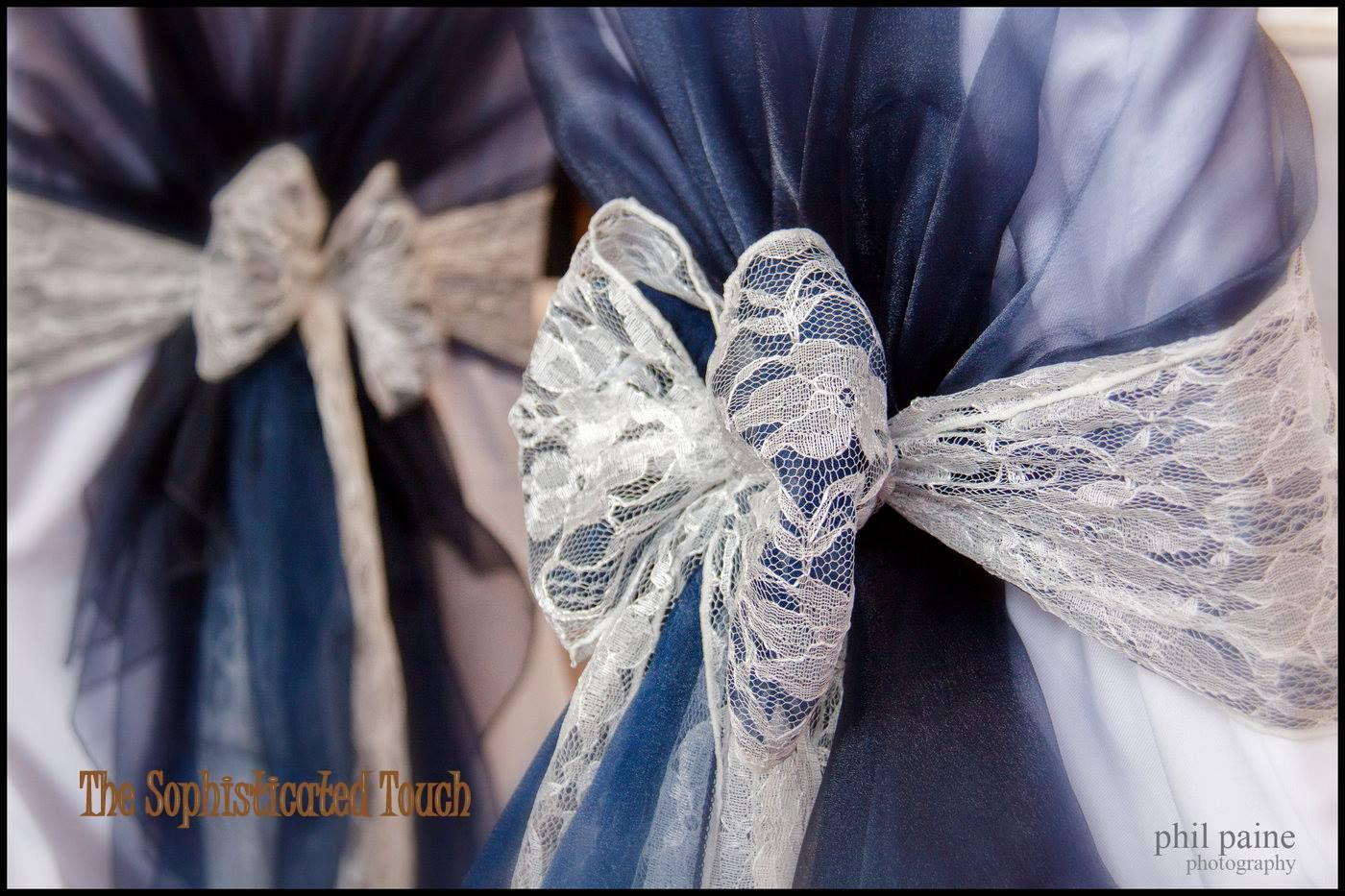 Wedding Chair Cover Hire Bedford Burlesque Dance Leave Your Hat On Navy Blue Organza Shawls With Double And Lace