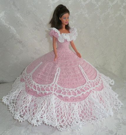 Items similar to Crocheted barbie doll dress on Etsy #dolldresspatterns