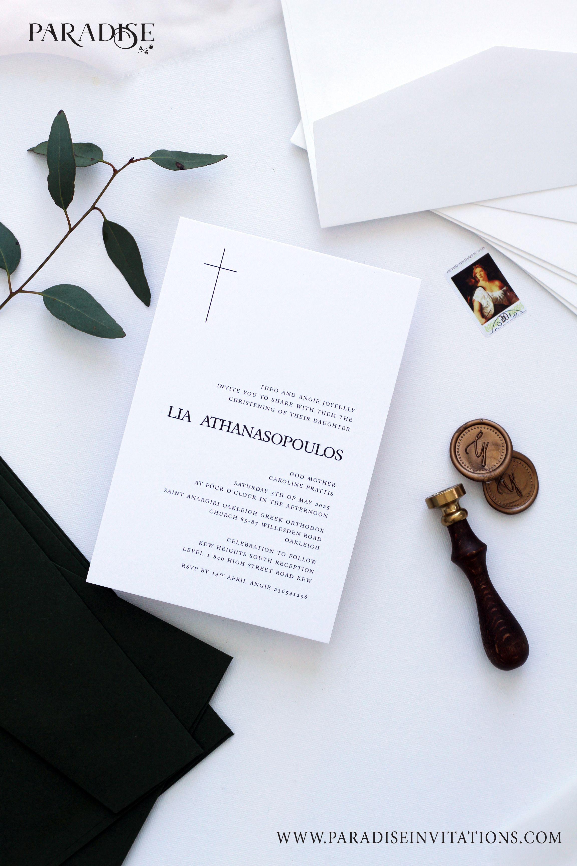 boy or girl elegant baptism invitation christening invitation