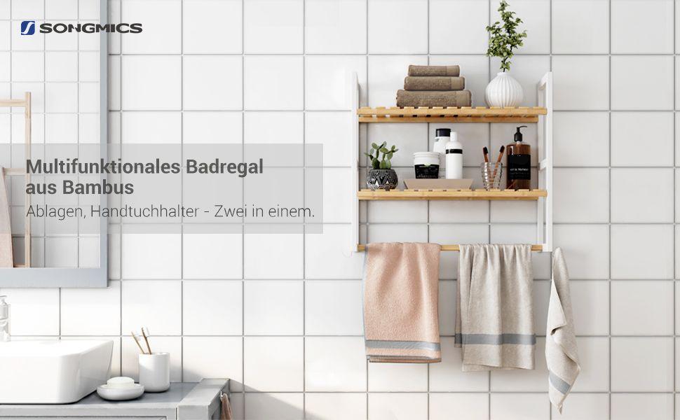 Songmics Badregal Aus Bambus Mit Handtuchhalter Verstellbares Wandregal Mit 2 Haken Multifunktional Aufbewahrungsr In 2020 Aufbewahrung Regale Regal Handtuchhalter