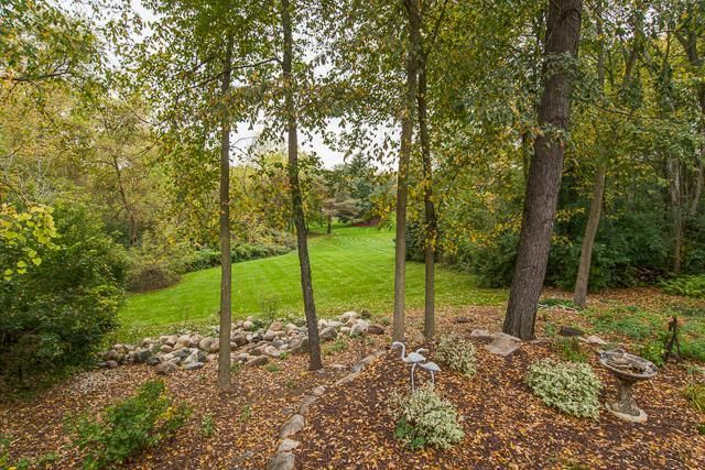 Contemporary Ranch Home In Ann Arbor Wooded Backyard Landscape Backyard Landscaping Landscape Curbing