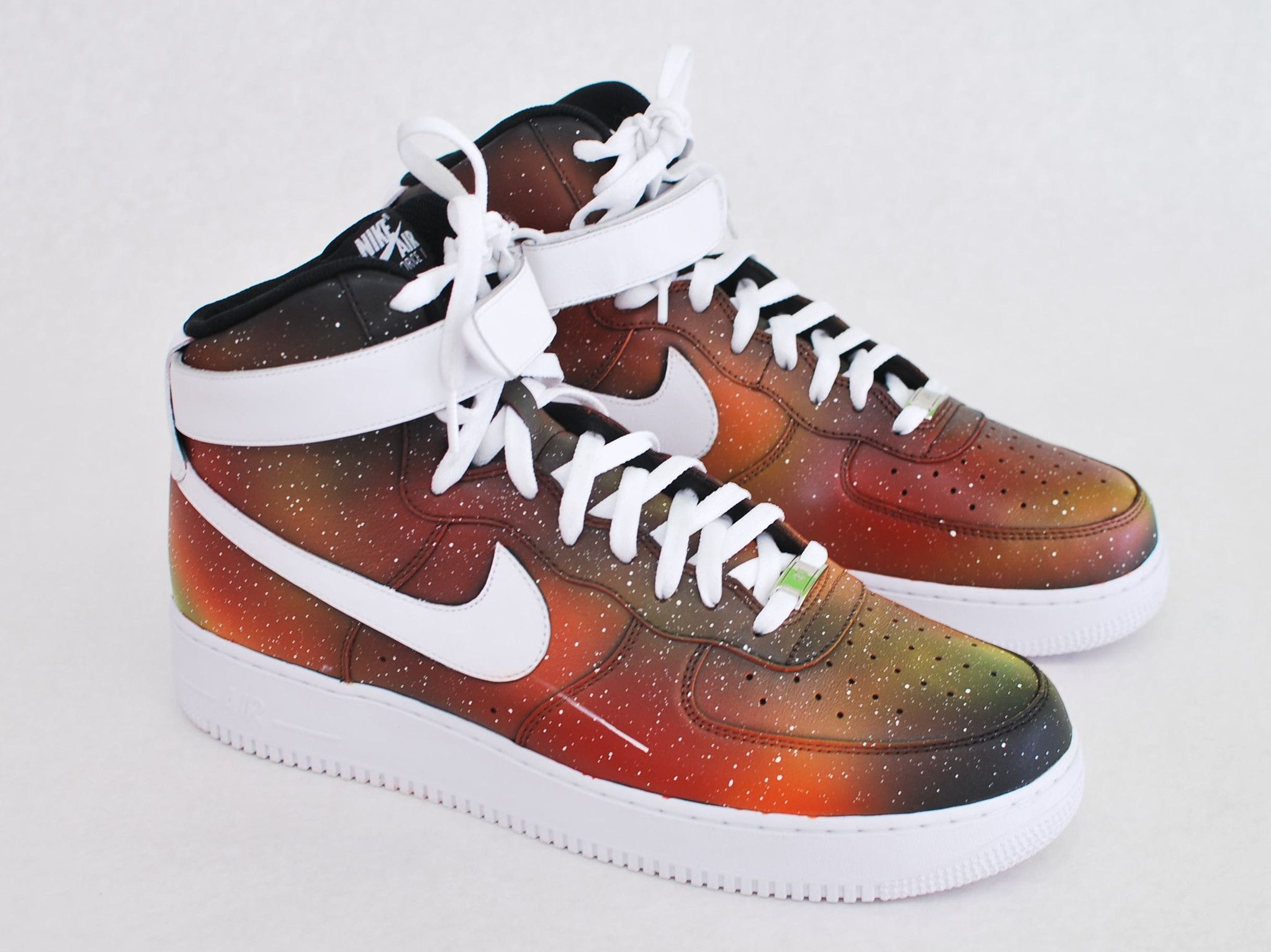big sale fde36 a6513 These one-of-a-kind hand-painted Air Force Ones have been carefully hand  painted with what we call our  Solar Flare Galaxy  featuring a red yellow  and ...