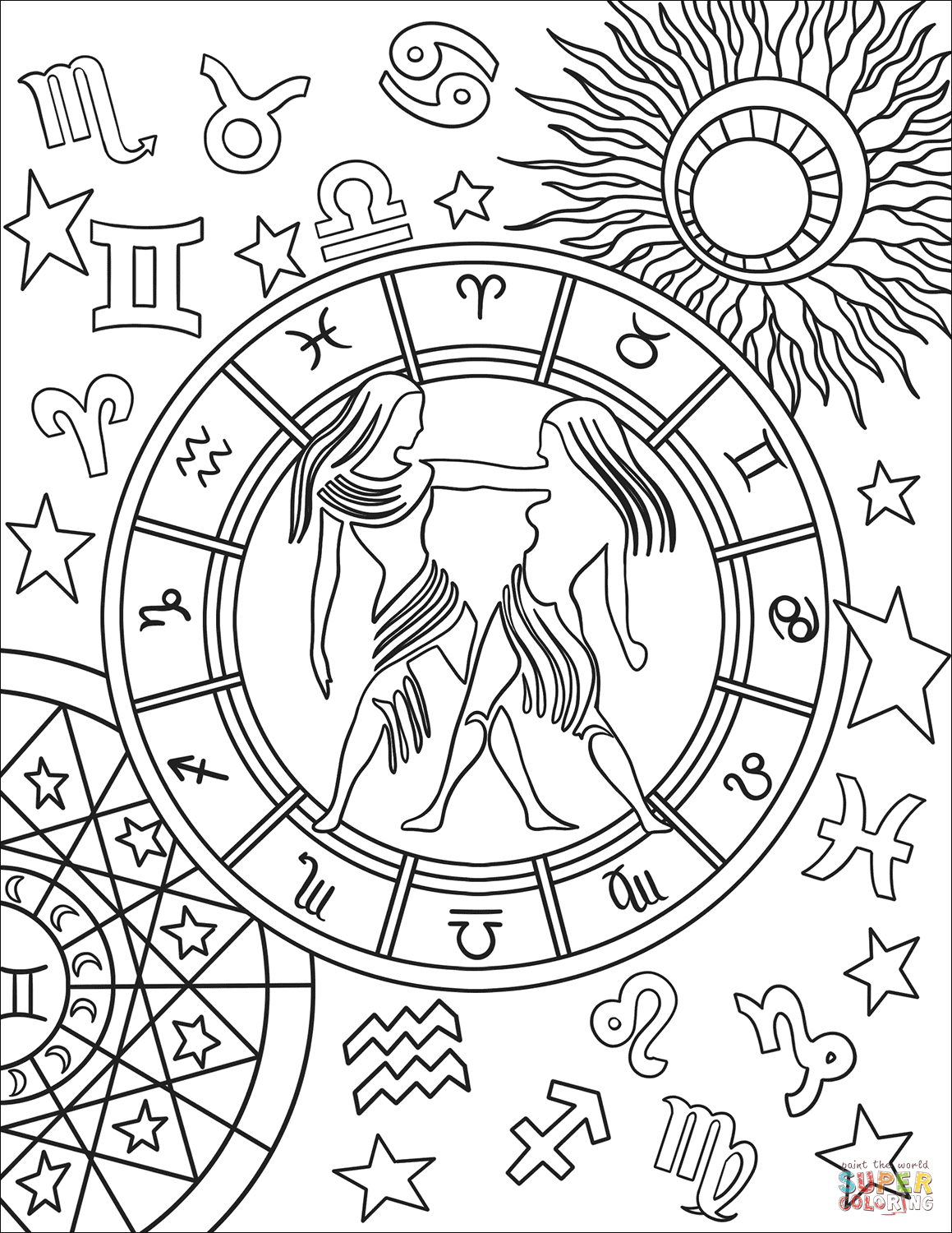 Gemini Zodiac Sign Coloring Page Free Printable Coloring Pages Zodiac Signs Colors New Year Coloring Pages Zodiac Signs Gemini