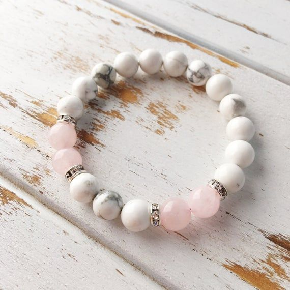 Healing Anger, Quartz Matte White Howlite Healing Jewelry Intention Bracelet Yoga Jewelry Mala Beads Healing Bracelet