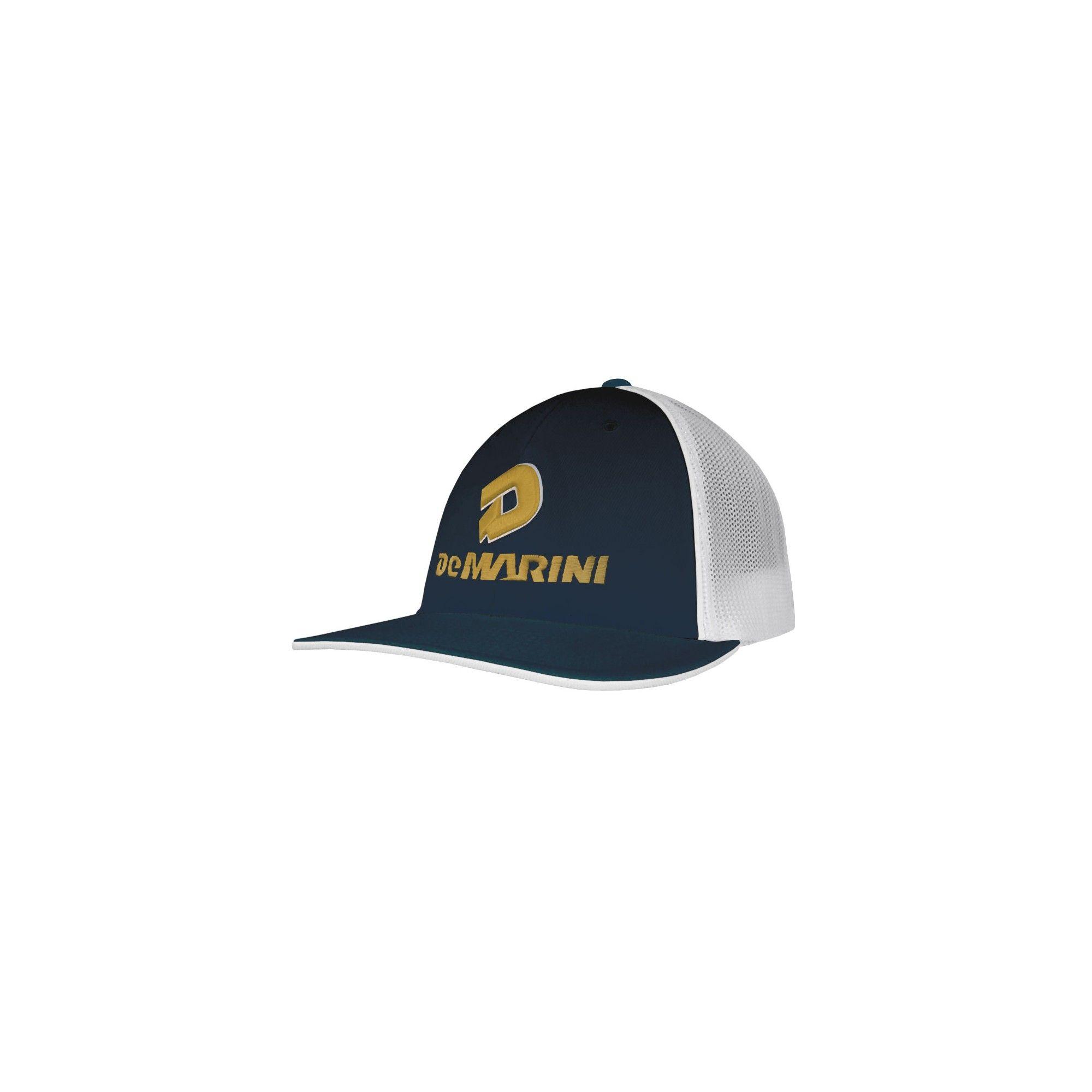 a67260a1fc29e DeMarini Stacked D Baseball Softball Trucker Hat - Navy Vegas Gold  (Blue Vegas Gold) - S M