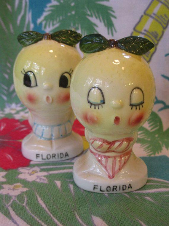 Vintage Orange Salt and Pepper Shakers Souvenir of Florida