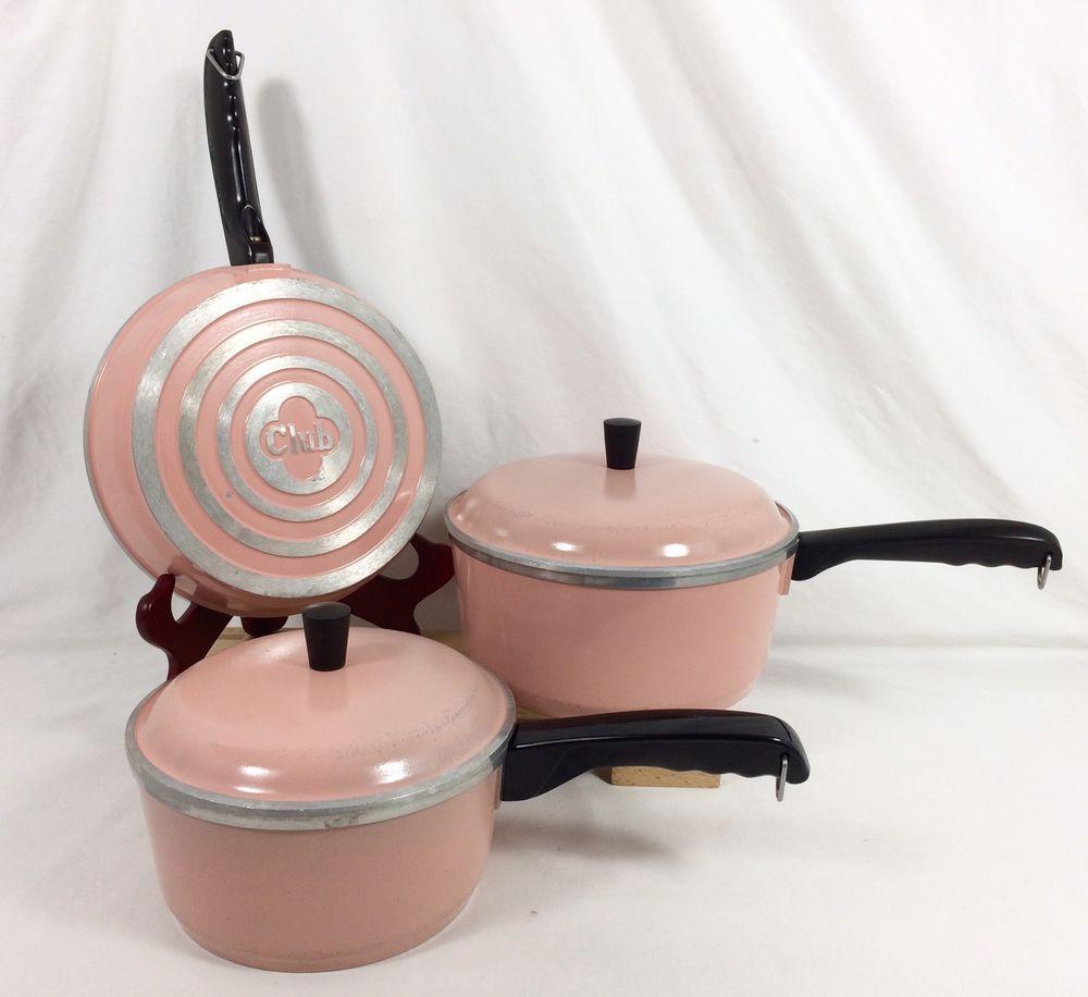5 pc set vtg club aluminum pale pink 6 qt sauce pans