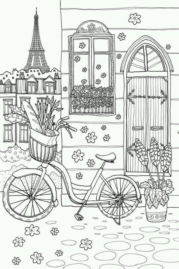 Paris Theme Coloring Page
