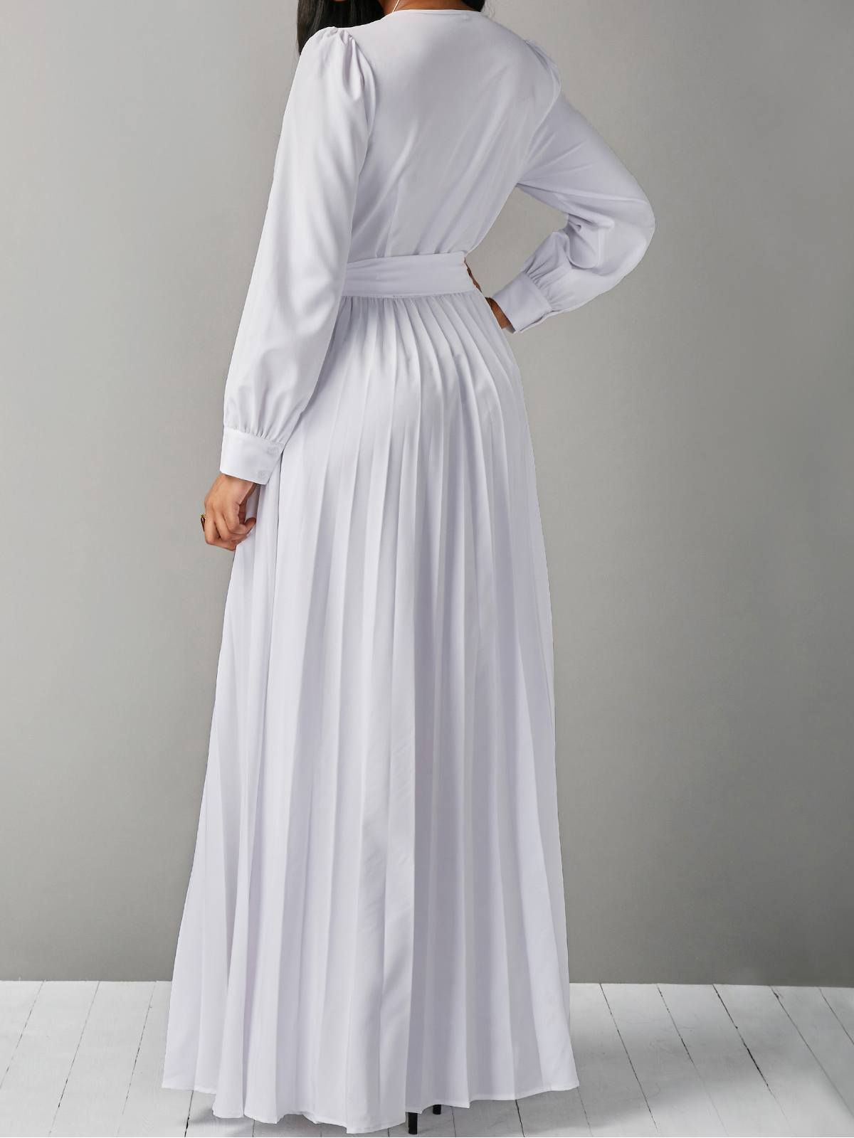 White wrap pleated maxi dress in clothes pinterest