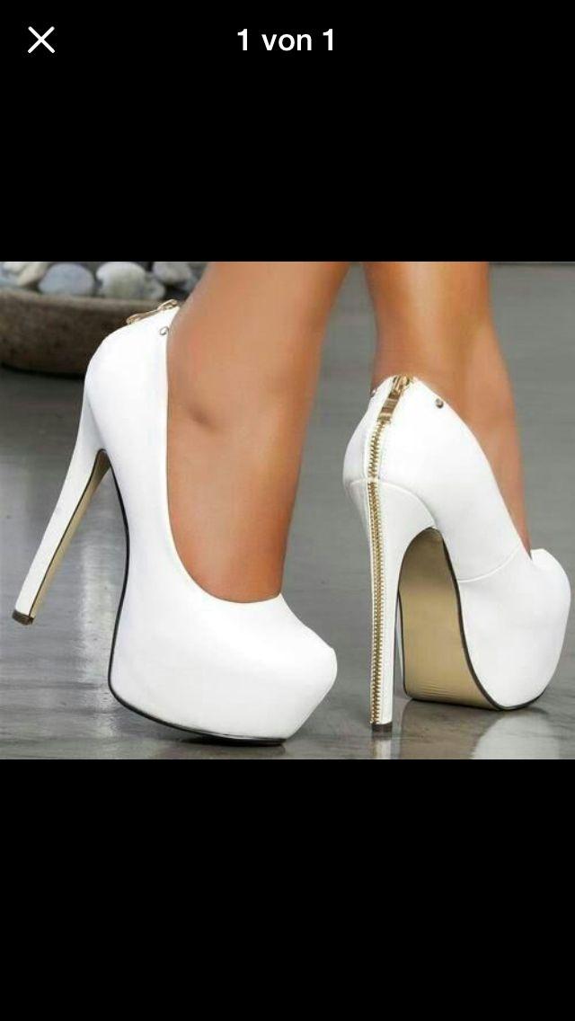 4682a3bc32b5fd Richtig geile high heels in weiß mit goldenem