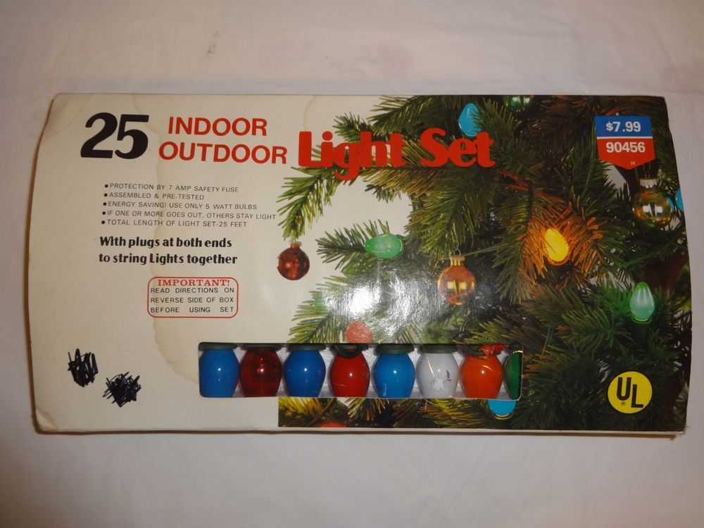 Details about VTG Safe-T-Glo C7 Indoor String Christmas Lights 25