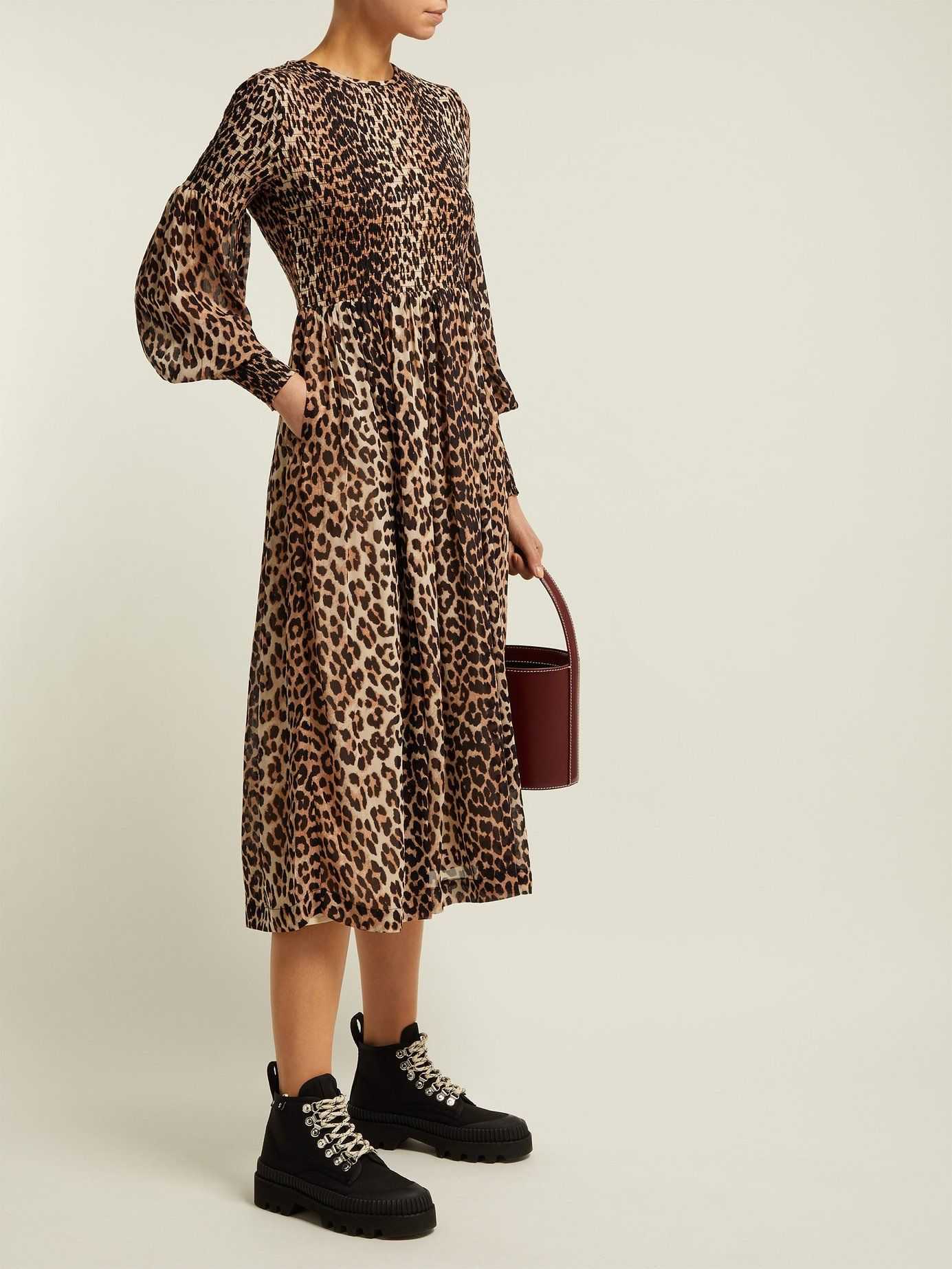 81b1f9ad Mullin leopard-print georgette midi dress | Ganni | MATCHESFASHION.COM US