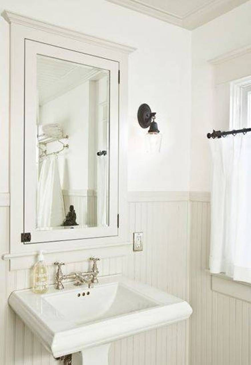 white recessed bathroom medicine cabinets over pedestal sink ...
