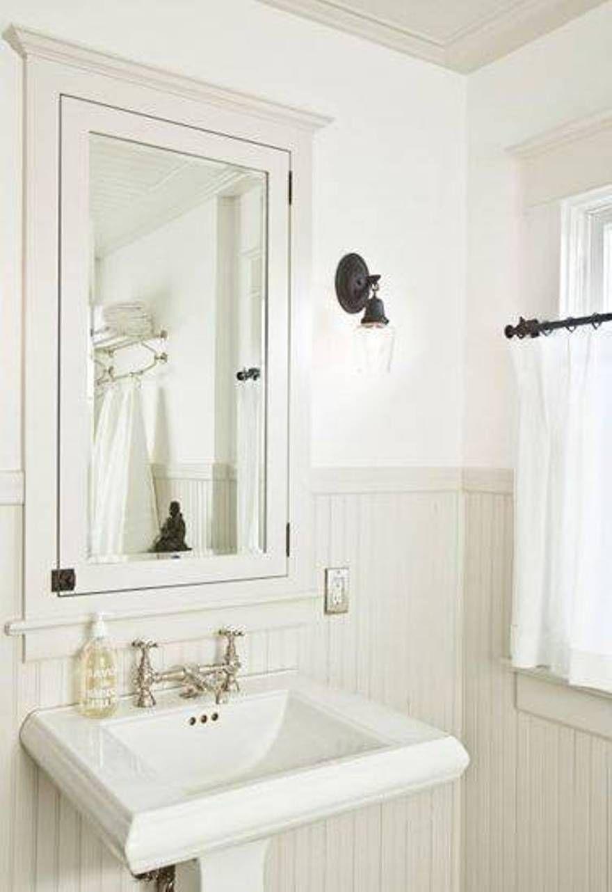 White Recessed Bathroom Medicine Cabinets Over Pedestal Sink