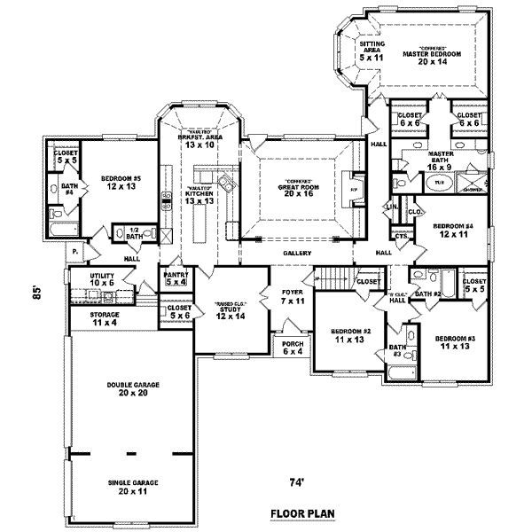 Big 5 bedroom house plans feet 5 bedrooms 4 for Two bedroom hall kitchen house plans