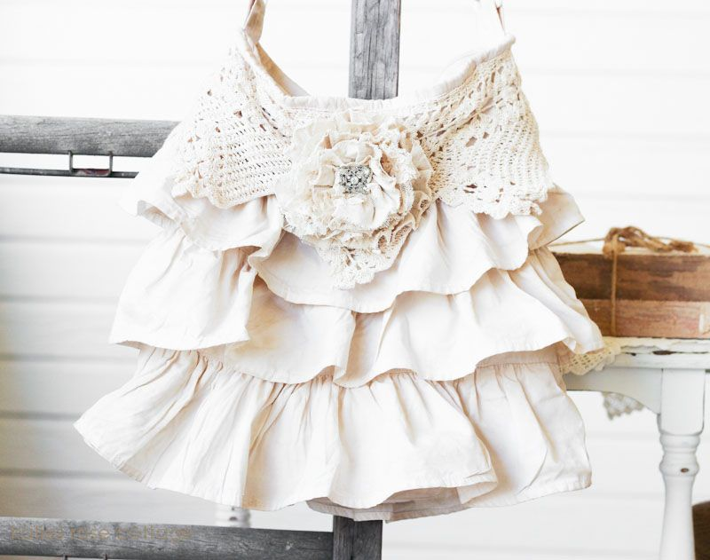 Tea Dyed Ruffle and Lace Tote Bag