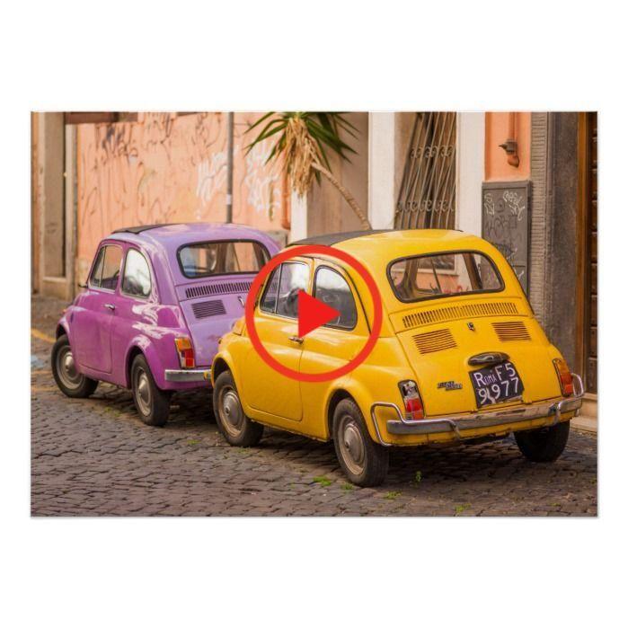 Classic italian Fiat 500 cars in Rome Italy Poster   Zazzle.com