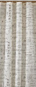 PARK DESIGNS RUE DE MARCHE SHOWER CURTAIN SHEER FRENCH ANTIQUE PRINT - 72x72 NEW