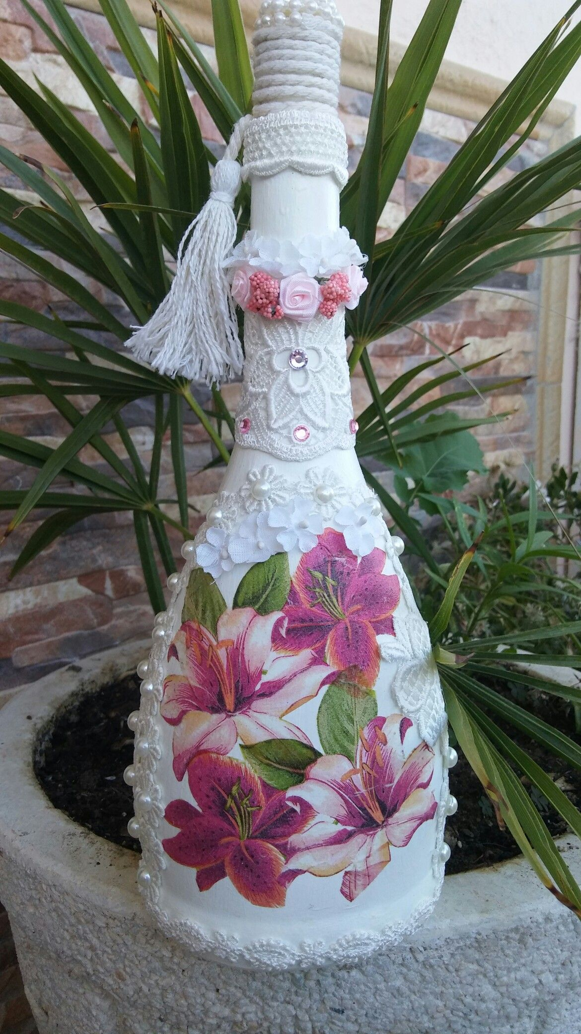 Shabby Chic style decoupage bottle with pearls and lace