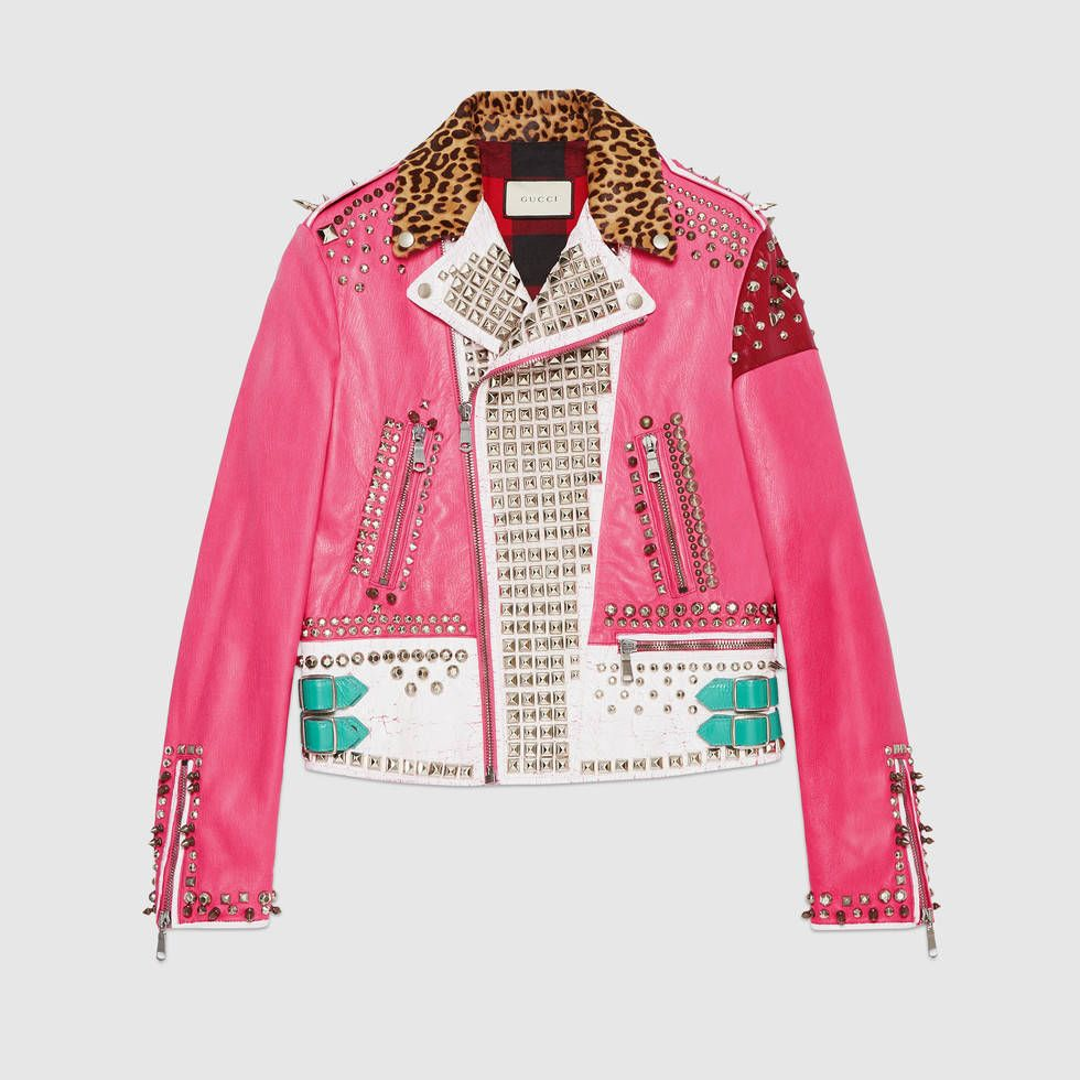 1acb7dba66e Hand-painted leather biker jacket - Gucci Men s Bombers   Leather Jackets  454027XG3075281