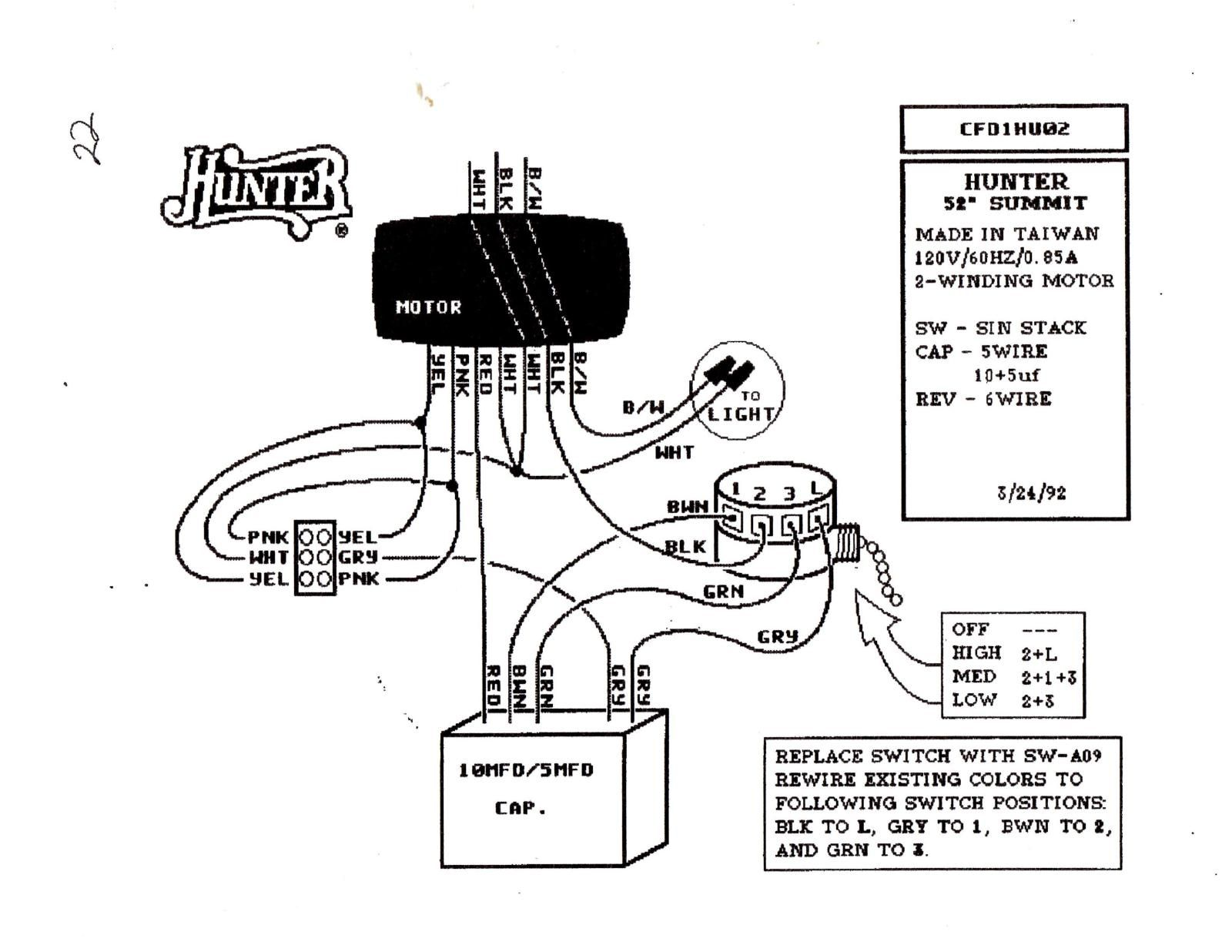 Hunter Ceiling Fan Speed Switch Wiring Diagram In