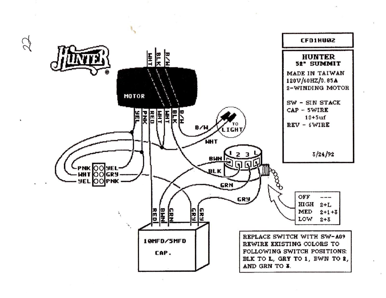 Hunter Ceiling Fan Speed Switch Wiring Diagram