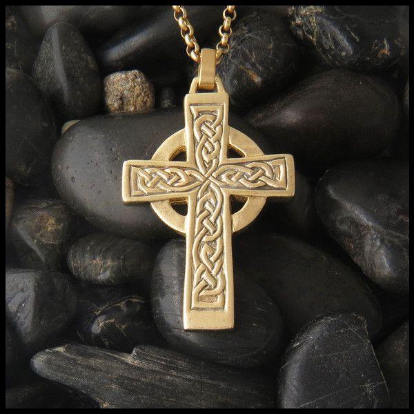Genesis Celtic Cross Pendant In 14k Gold Celtic Cross Jewelry Mens Celtic Cross Necklace Celtic Knot Pendant