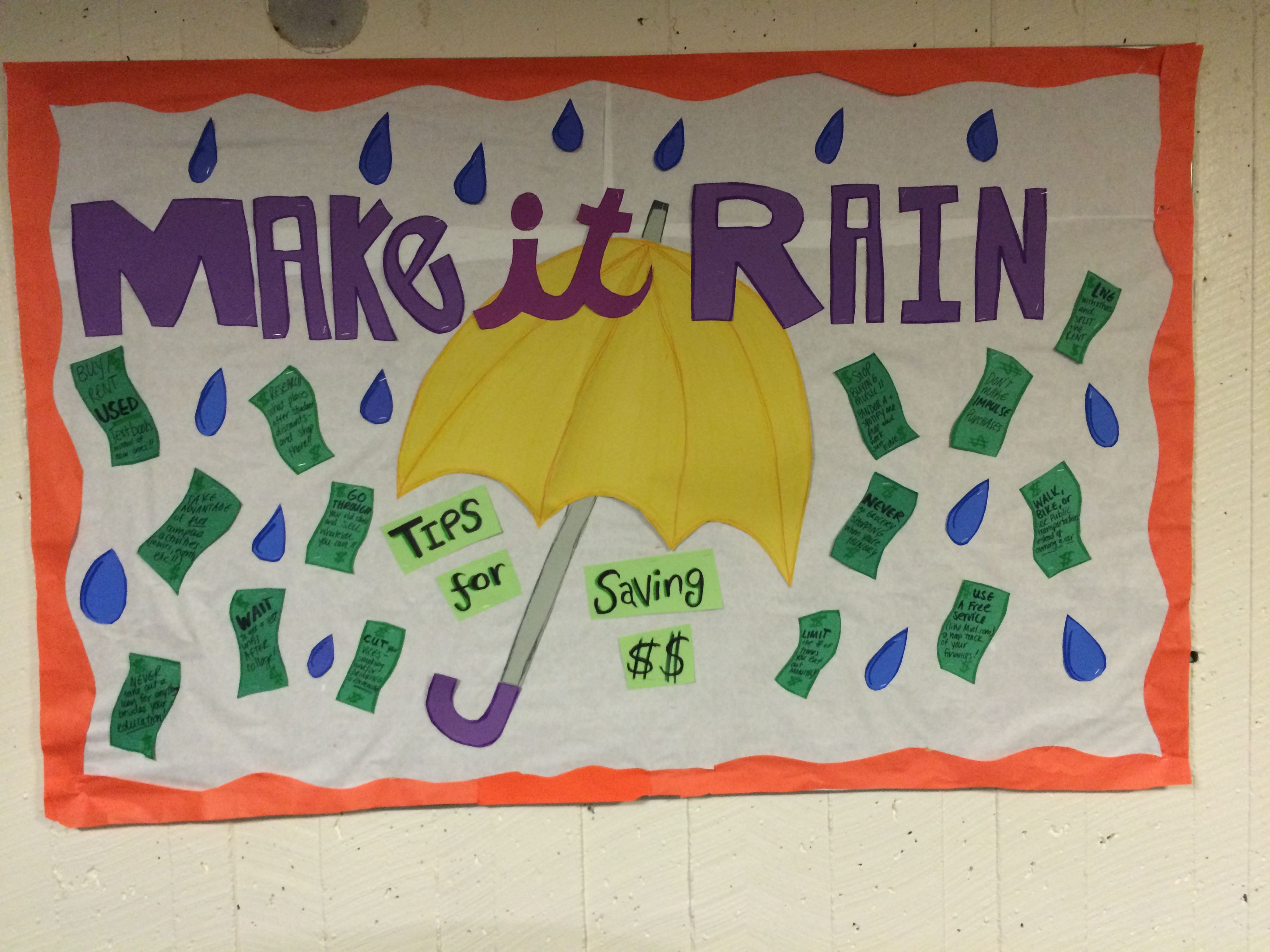 RA bulletin board for spring- April/ March. Make it rain with tips for saving money on the dollars! #rabulletinboards