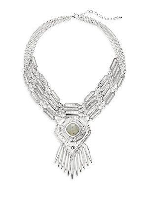 PUNCH Layered Statement Necklace - Silver - Size No Size