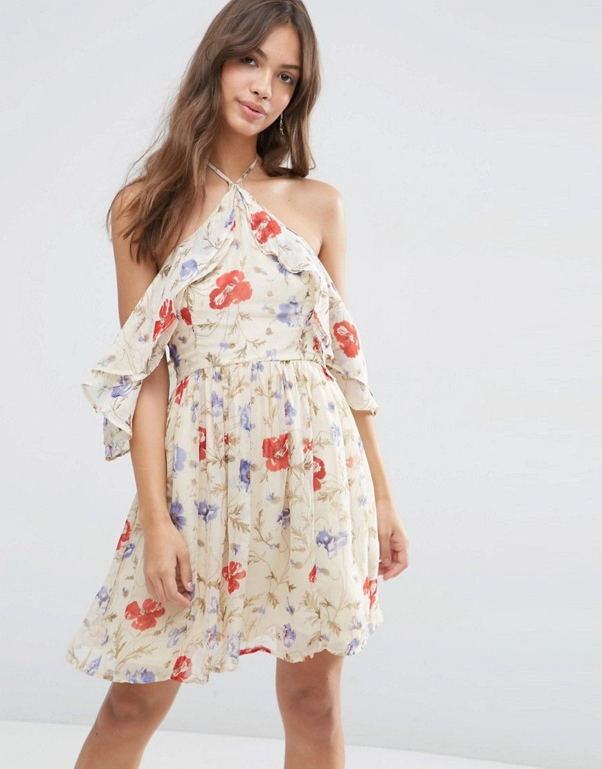 Image of asos cold shoulder mini dress with ruffle sleeve in
