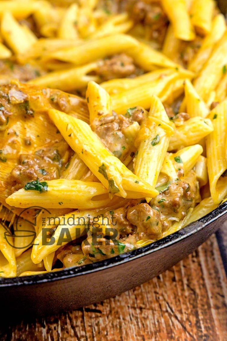 Great For Using Any Leftover Pasta Simple And Inexpensive Cheesy Ground Beef Skillet Dinn Beef Pasta Recipes Ground Beef Pasta Recipes Beef Recipes For Dinner