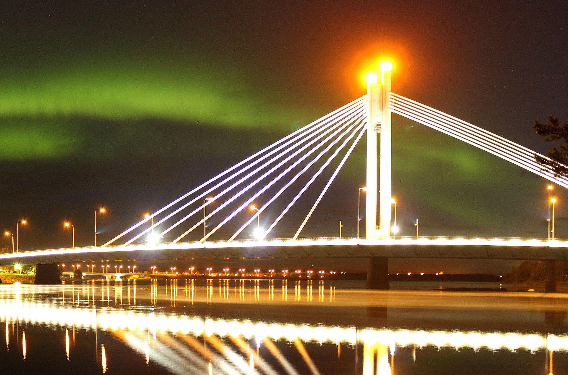"""The Jätkänkynttilä (""""Lumberjack's Candle"""") bridge - a modern icon -Rovaniemi, Lapland, Finland"""