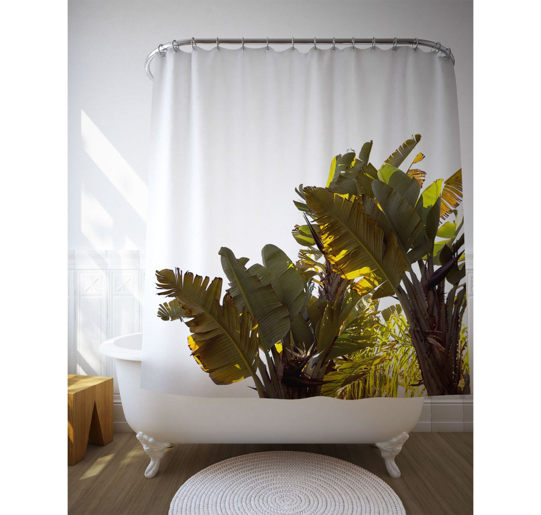Banana Tree Shower Curtain, Tropical Bathroom, Home Decoration ...