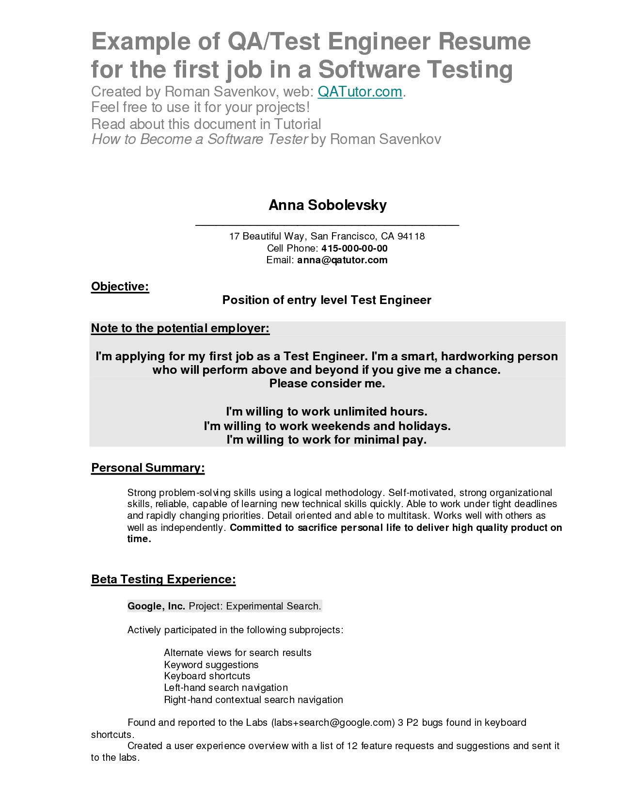 Resume Examples After First Job After Examples First Resume