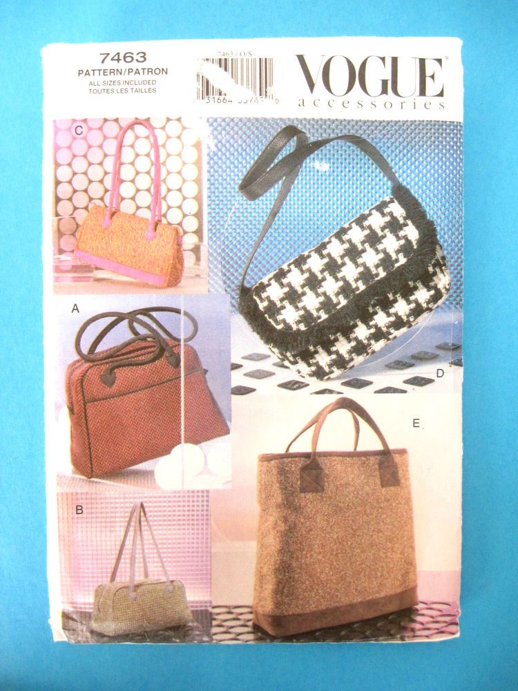 VOGUE craft/sewing pattern #7463 HANDBAGS 5 Variations UNCUT Tote/Shoulder++ #VoguePatterns