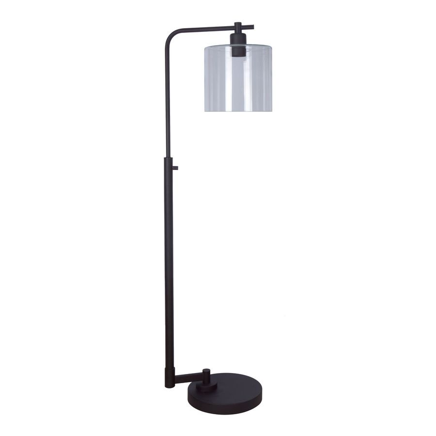 Allen Roth Tapsley 57 5 In Bronze Downbridge Floor Lamp With Glass Shade Floor Lamp Lamp Glass Floor Lamp