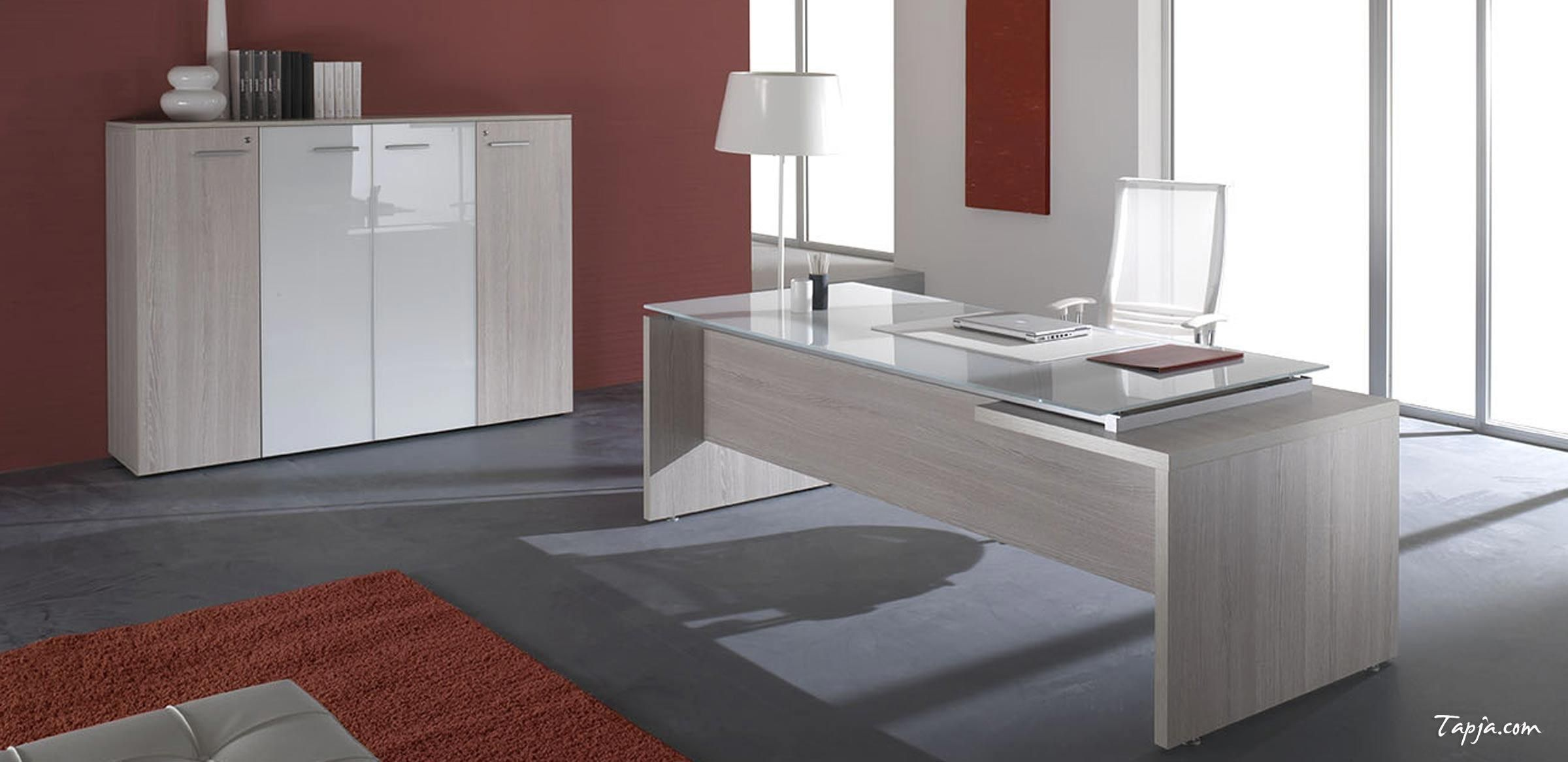 contemporary office desk glass. Fascinating Red Wall Colors For Modern Office Design With White Brown Cabinet On The Also Wooden Desk Glass Countertop Including Fur Rug Contemporary
