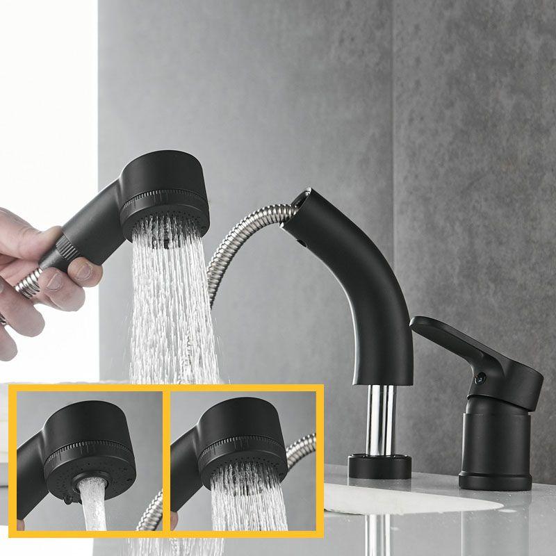 洗面蛇口 スプレー混合栓 洗髪用水栓 ホース引出式 昇降 整流 シャワー吐水式 シングルレバー 黒色 洗面 蛇口 昇降